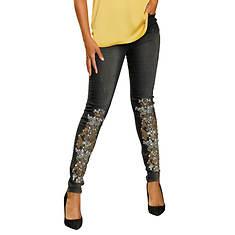 Lace Design Embellished Skinny Jean