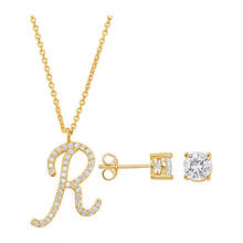 14K Gold-Plated Initial Necklace & Earring Set