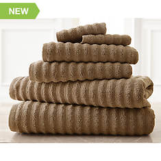 6-Piece Wavy Spa 100% Cotton Towel Set