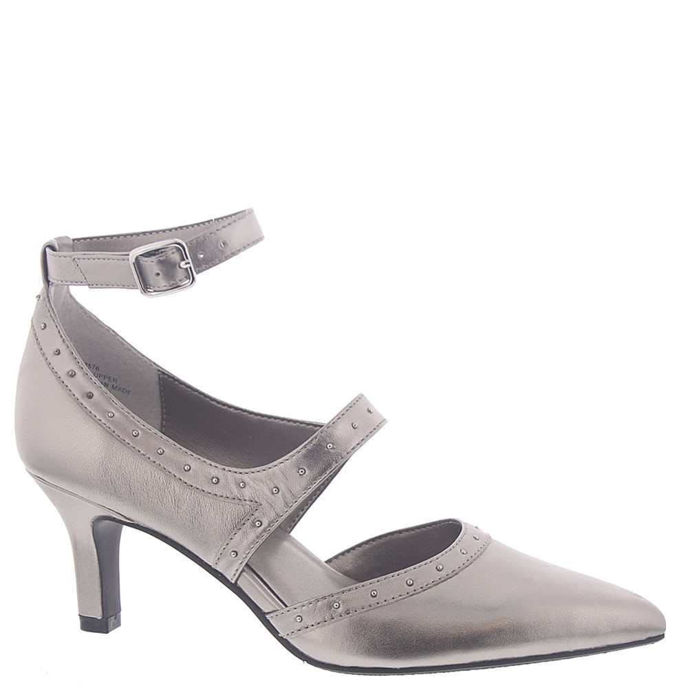 *Shiny trim and tiny studs take this pump in a high-fashion direction *Leather or microfiber upper *Elastic-gored instep strap and buckled ankle strap *Lightly cushioned footbed *2-1/2\\\
