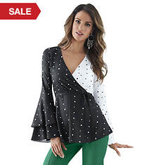 Crossover Top with Ruffle Sleeves