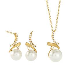 Women's 10K Diamond & Pearl Necklace & Earring Set