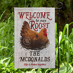 Personalized Welcome To Our Roost Garden Flag