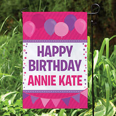 Personalized Birthday Colors Garden Flag
