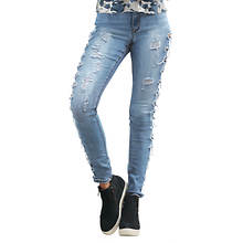 Side Destructed Cutout Skinny Jean