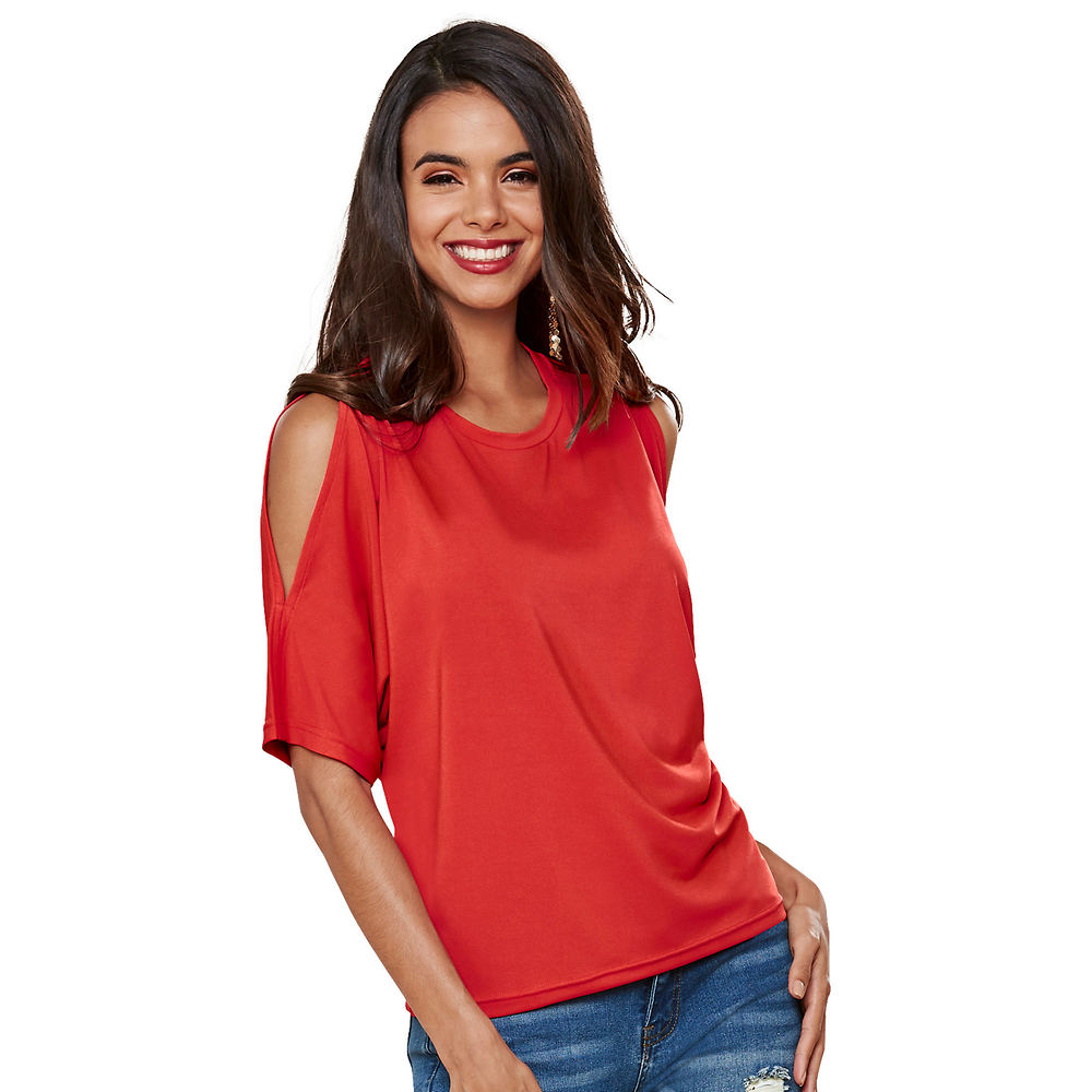 *Take your everyday look up a notch with this classic top *Cold shoulder design and dolman sleeves *Poly/spandex *Machine wash *Import