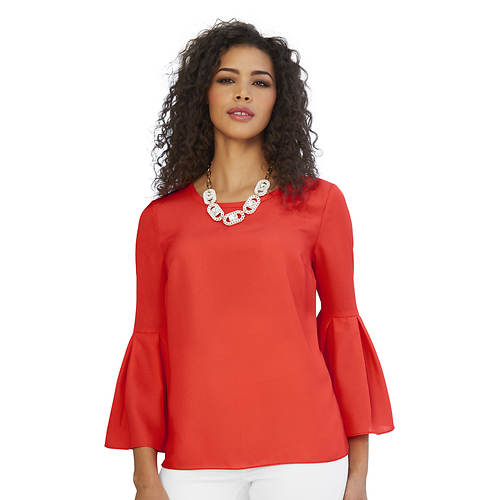 Pleated Bell-Sleeved Top