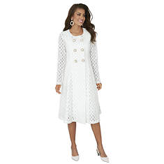 Circular Mesh Jacket with Sheath Dress