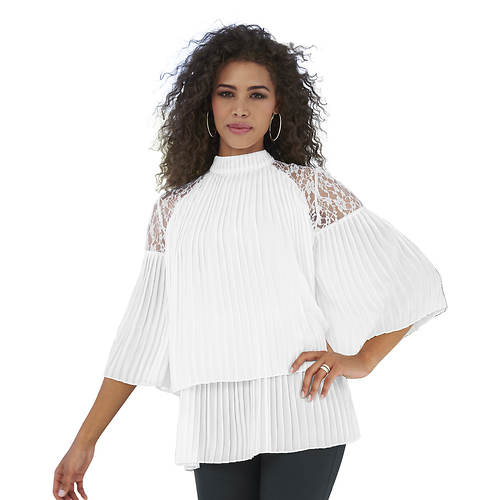 Lace Inset Pleated Blouse