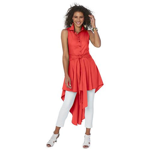 Sleeveless Button-Front Shirt