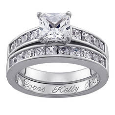 Personalized Women's Square Wedding Ring Set