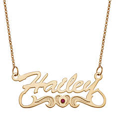 Personalized Name Script/Birthstone Necklace