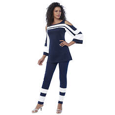 Cold Shoulder Colorblock Pant Set