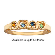 Personalized Birthstone Hearts Ring