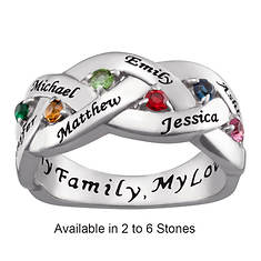 Personalized Birthstone/Family Names Braided Ring