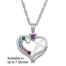 Personalized Birthstone Heart/Cross Necklace
