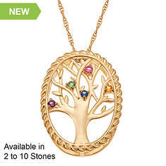 Personalized Family Tree Birthstone Necklace