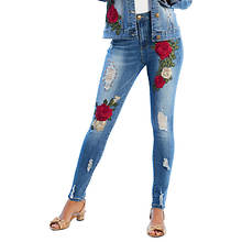 Floral Appliqué Denim Jean