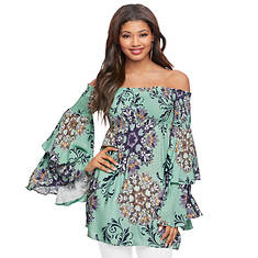 Off-Shoulder Ruffle-Sleeve Top