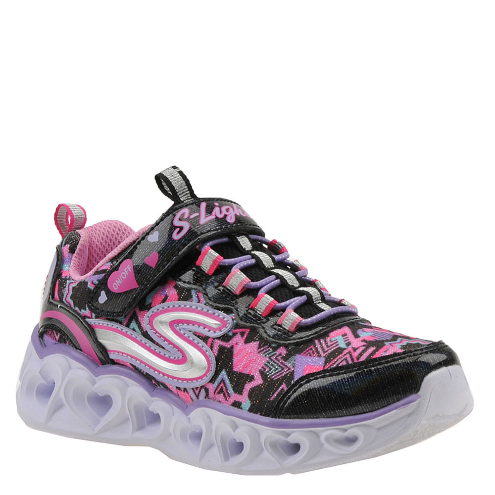 *She\\\'s guaranteed to love this sneaker\\\'s cool light-up design *Woven mesh upper with shiny overlays and heart-shaped light-up midsole pods *Adjustable hook-and-loop strap over bungee laces for an easy fit *Padded collar and tongue *Soft fabric lining *Cushioned footbed *Flexible traction outsole *Available in whole sizes only half sizes please order the next size up
