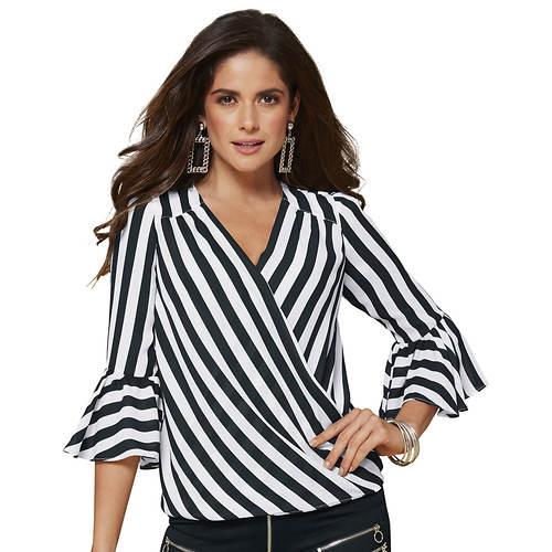 Stripe-Print Wrap Blouse