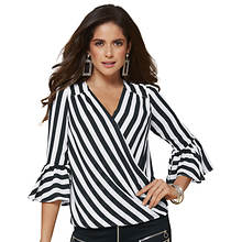 Stripe-Print Wrap Blouse