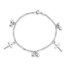 Hearts and Cross Charm Bracelet