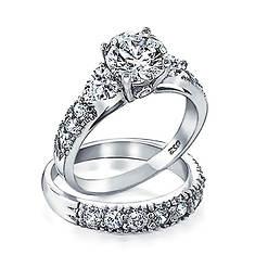 CZ Engagement Ring Set