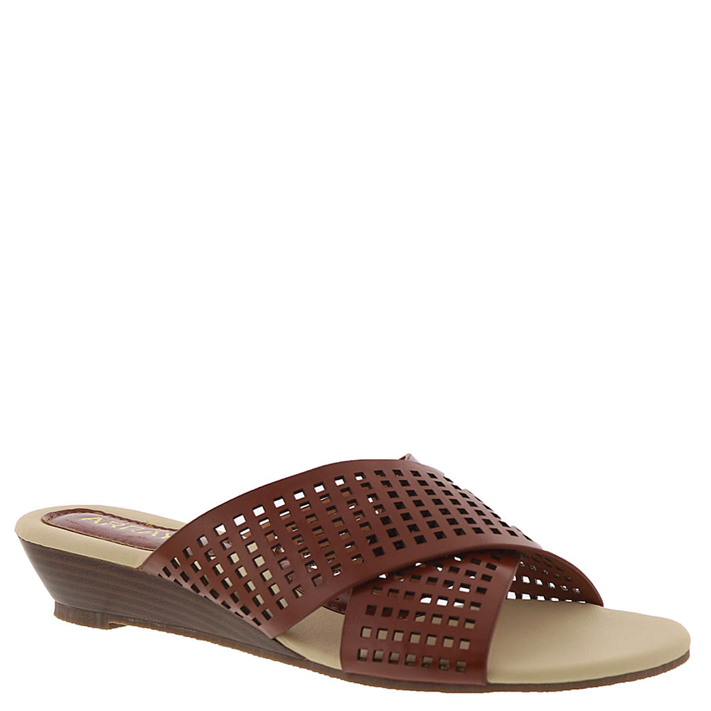 *This slide is perfectly on trend for all your summer events *Synthetic straps with square cutouts *Cushioned footbed *1-1/4\\\