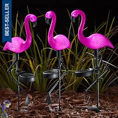 3-Piece Pink Flamingo Solar Light Set