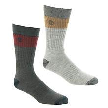 Timberland Men's Colorblock Crew 2-Pack Socks