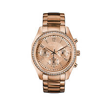 Caravelle By Bulova Rose Gold-Tone Crystal Bracelet Watch