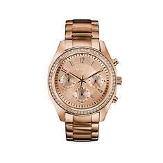 Caravelle By Bulova Rose Gold-Tone Crystal Bracelet Watch