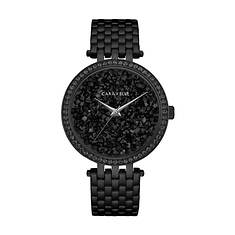 Caravelle By Bulova Black Ion-Plated Crystal Watch