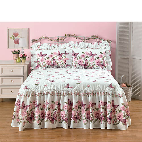 Butterfly Blossoms Quilt Top Bedspread