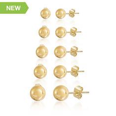 Round Stud 5-Piece Earring Set