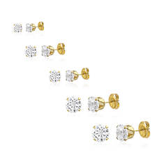 CZ Round 5-Piece Earring Set