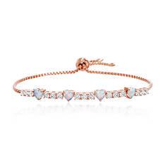 Opal & CZ Heart-Shaped Tennis Bracelet