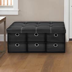 Collapsible 6-Drawer Storage Ottoman-Faux Leather