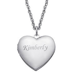 Personalized 23mm Engraved Name Heart Locket
