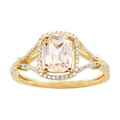 Women's 10K Gold Morganite/Diamond Accent Ring