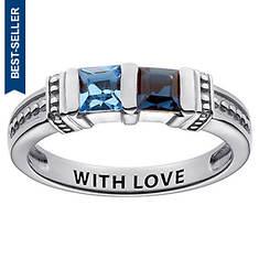 2-Stone Square Birthstone Ring