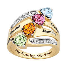 My Mother My Heart Birthstone And Diamond Ring
