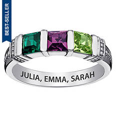 3-Stone Square Birthstone Ring