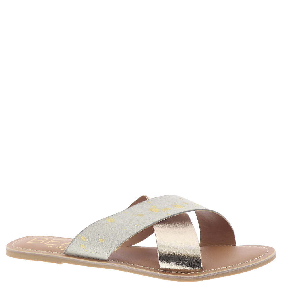 *Dare to be wild fashionista in this statement-worthy slide *Animal-print cow hair or metallic leather upper *Easy slip-on styling *Man-made lining *Padded footbed *Man-made outsole