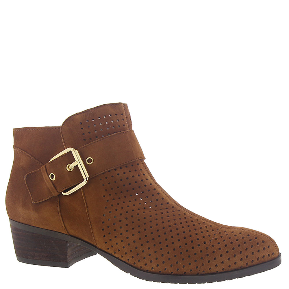 *Take on this Western-chic bootie featuring a glamorous oversized buckle and bold toe *Perfed suede leather upper *Side zipper *Rubber outsole *1-3/4\\\