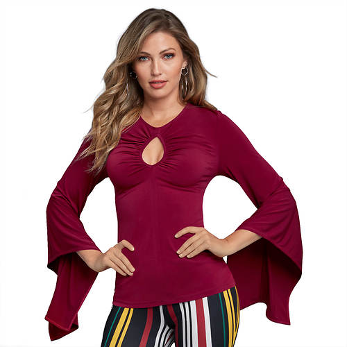 Ruched Keyhole Top