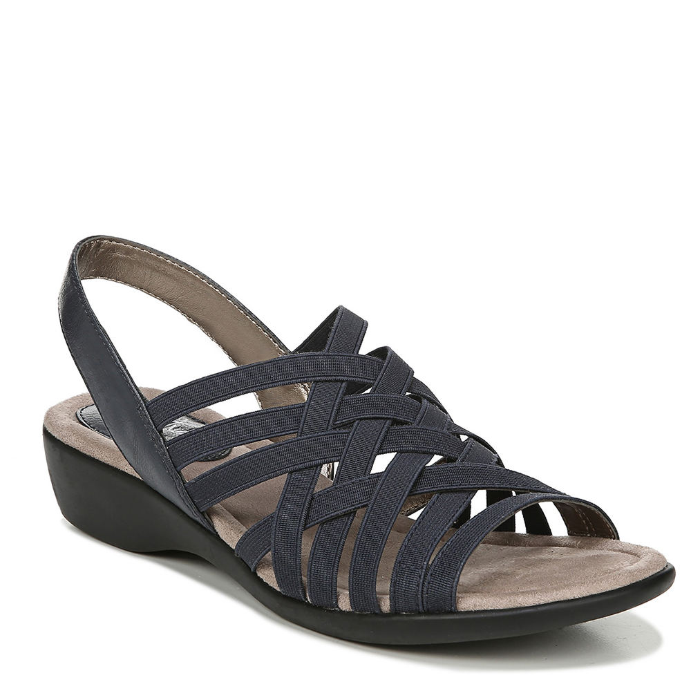 *Style and comfort are never a stretch in this ultra-flexible and chic sandal *Faux leather and stretch gore upper *Slip-on styling *Soft System® comfort package provides all-day support flex and cushioning *Cushioned insole *Traction outsole provides extra stability *1-1/4\\\