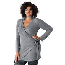 Wrap-Front Cozy Tunic Sweater
