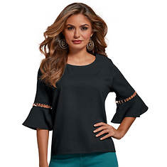 Ring-Trimmed Bell-Sleeved Top